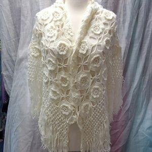 Vintage Handmade Crochet Shawl Wrap